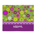 Personalized Name Colorful Flowers Throw Blanket