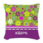 Personalized Name Colorful Flowers Woven Throw Pil