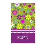 Personalized Name Colorful Flowers 3'x5' Area Rug