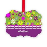 Custom Name Girly Background Picture Ornament