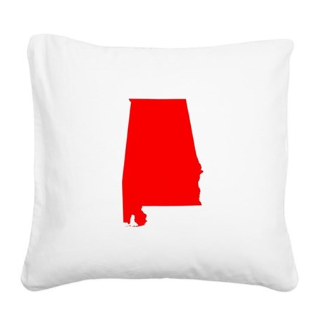 Bright Red Alabama Square Canvas Pillow
