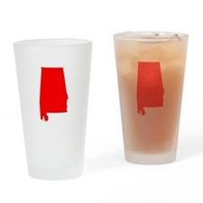 Bright Red Alabama Drinking Glass