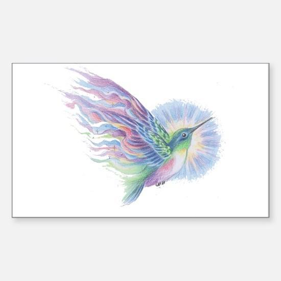 Hummingbird Art Sticker (Rectangle)