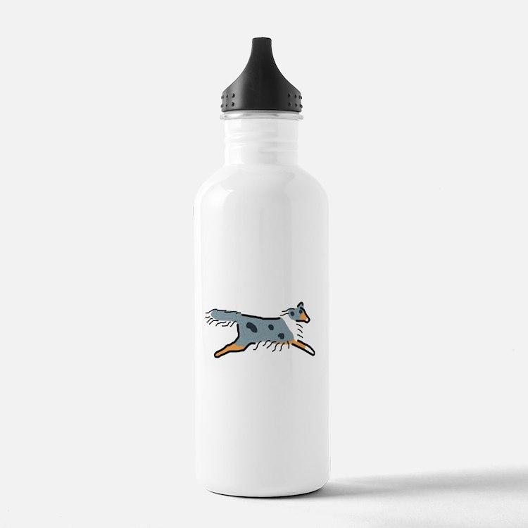Blue Merle Sheltie Water Bottle