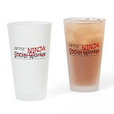 Job Ninja Social Worker Drinking Glass