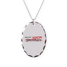 Job Ninja Secretary Necklace Oval Charm