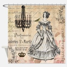 Vintage French shabby chic lady Shower Curtain