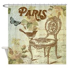 Vintage shabby chic French chair with bird Shower