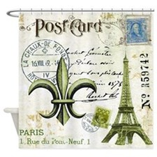 Vintage French Eiffel Tower and fleur de lis postc
