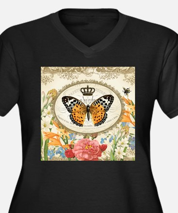 Vintage French butterfly and flowers Plus Size T-S