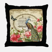 Vintage French Peacock and roses Throw Pillow
