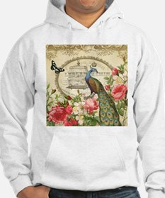 Vintage French Peacock and roses Hoodie