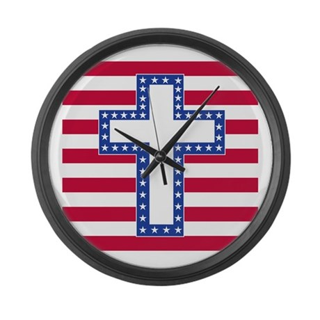 Abstact White Large Wall Clock By Jesuslovesamericanflag