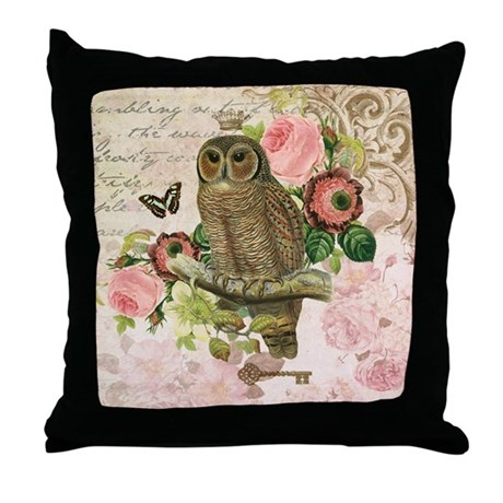 Vintage French shabby chic owl Throw Pillow by DesignsbyHeatherMyers1