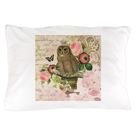 White Shabby Chic Pillow Cases : Vintage French shabby chic owl Pillow Case by DesignsbyHeatherMyers1