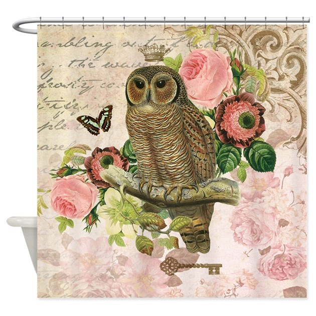 vintage french shabby chic owl shower curtain by