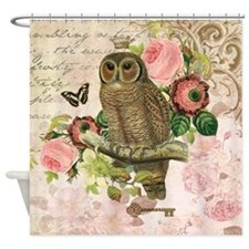 Vintage French shabby chic owl Shower Curtain