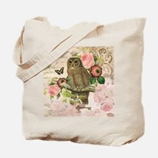 Vintage French shabby chic owl Tote Bag