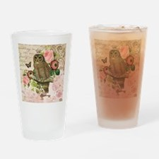Vintage French shabby chic owl Drinking Glass