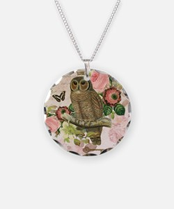 Vintage French shabby chic owl Necklace