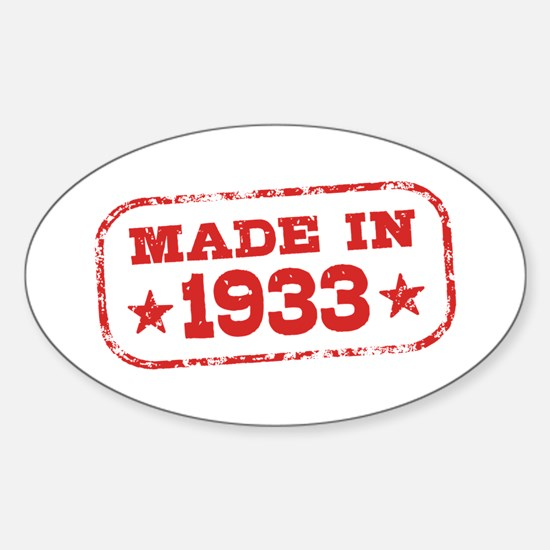 Made In 1933 Sticker (Oval)