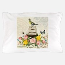 Vintage French birdcage and bird Pillow Case
