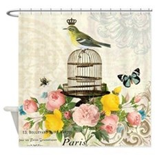 Vintage French birdcage and bird Shower Curtain