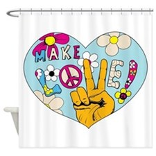 Mod Sixties Make Love Shower Curtain
