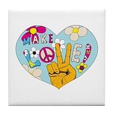 Mod Sixties Make Love Tile Coaster