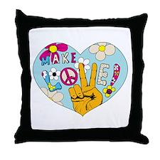 Mod Sixties Make Love Throw Pillow