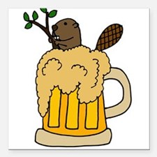 "Funny Beaver in Beer Square Car Magnet 3"" x 3"""