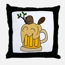 Funny Beaver in Beer Throw Pillow