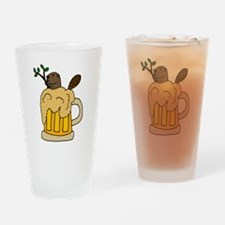 Funny Beaver in Beer Drinking Glass