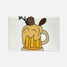 Funny Beaver in Beer Rectangle Magnet