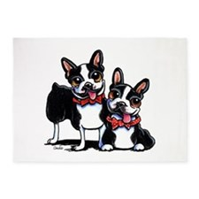 Bowtie Boston Terriers 5'x7'Area Rug