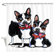 Bowtie Boston Terriers Shower Curtain