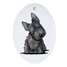 Brindle Scottie Ornament (Oval)