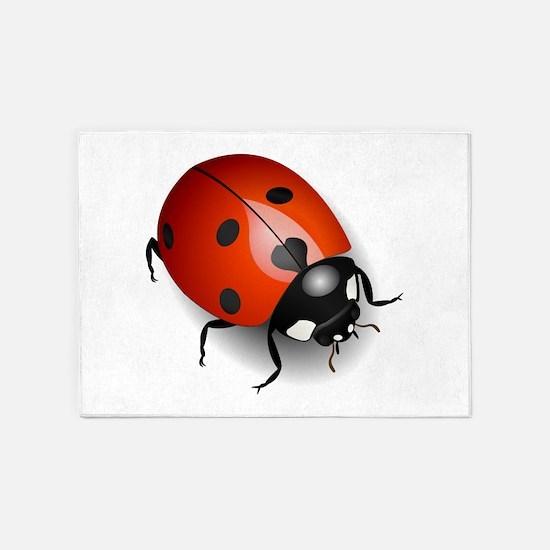 Shiny Ladybug 5'x7'Area Rug