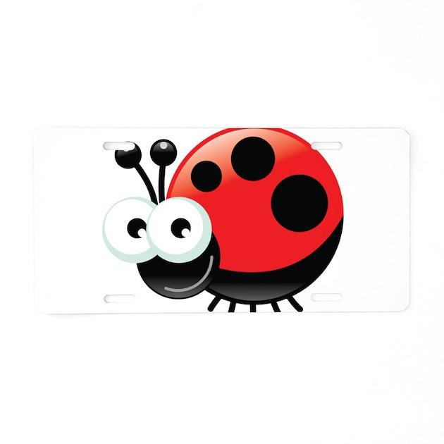 Happy Ladybug Aluminum License Plate By Underthesea2