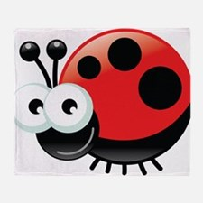Happy Ladybug Throw Blanket