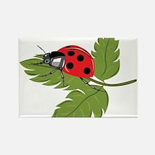 Ladybug on Leaf Rectangle Magnet