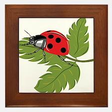 Ladybug on Leaf Framed Tile