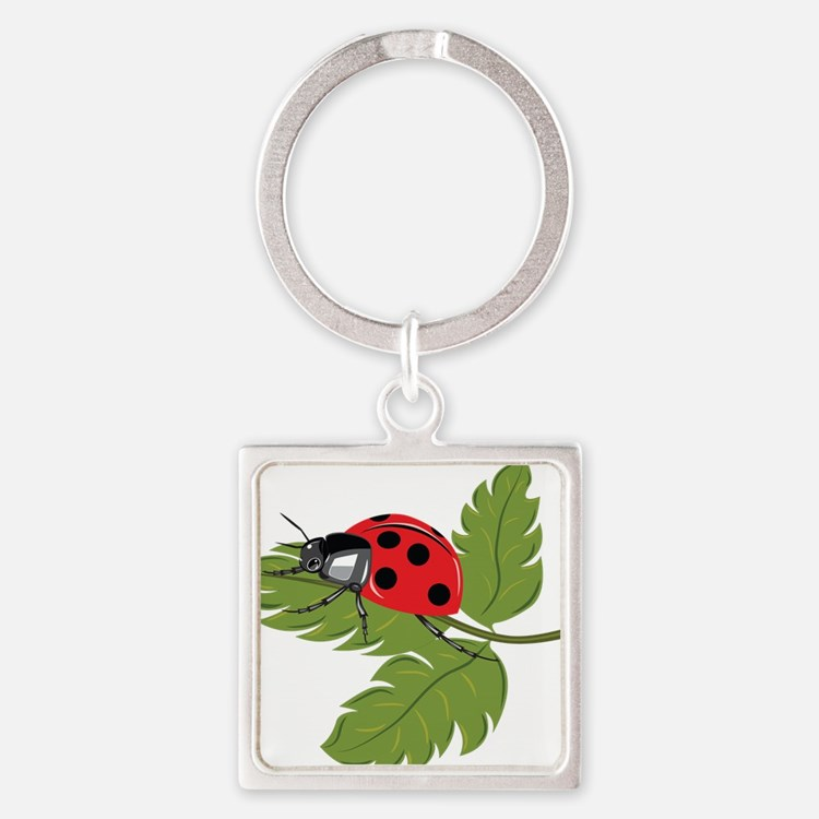 Ladybug on Leaf Keychains