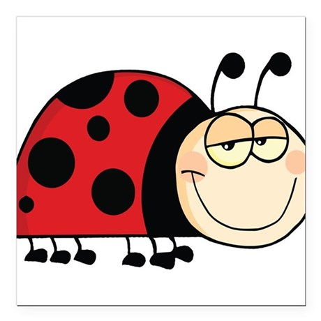 "Cute Ladybug Square Car Magnet 3"" x 3"""