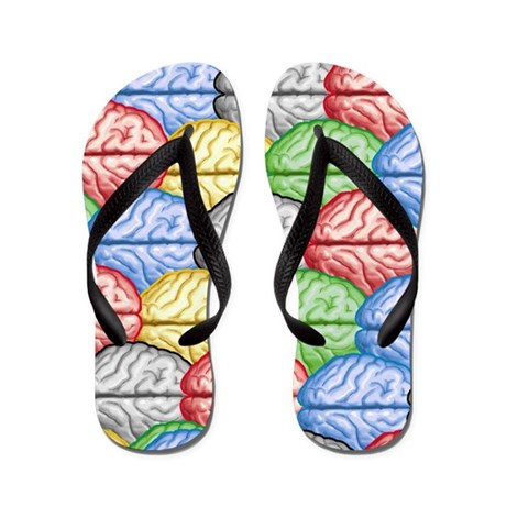 Colorful Brain Flip Flops