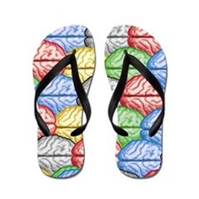 Colorful Brain Flip Flops