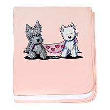 Scottie and Westie Valentines baby blanket