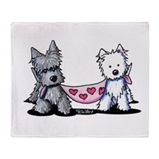Scottie and Westie Valentines Throw Blanket