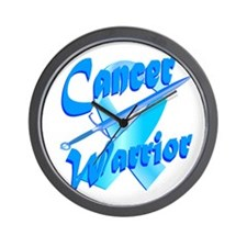 Cancer Warrior Blue Button Wall Clock