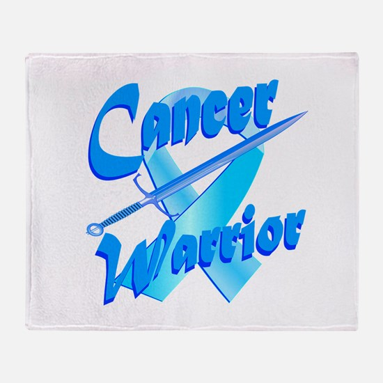 Cancer Warrior Blue Button Throw Blanket